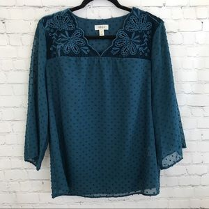Style & Co. eyelet blue-green blouse top small